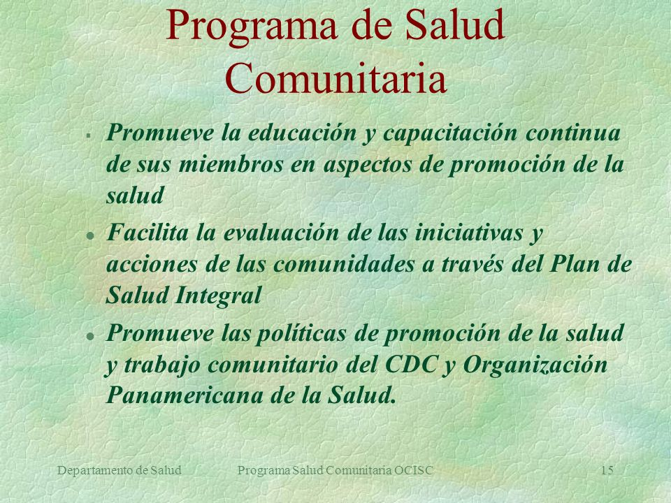 Programa de Salud Comunitaria