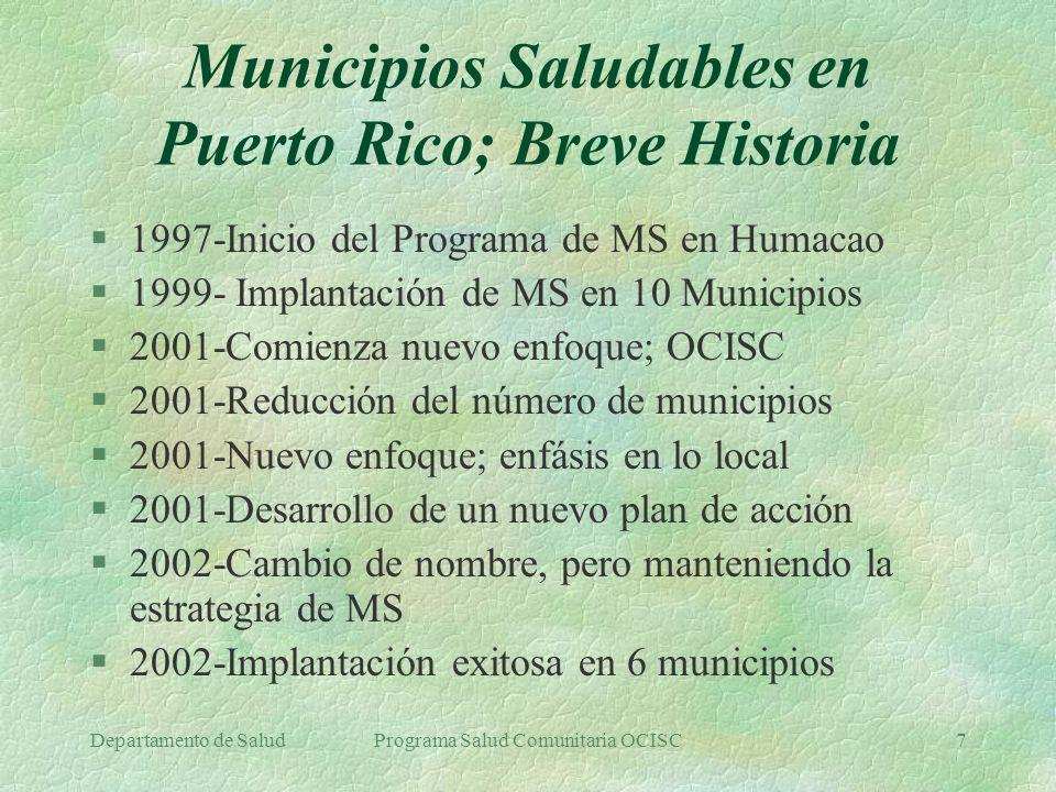 Municipios Saludables en Puerto Rico; Breve Historia