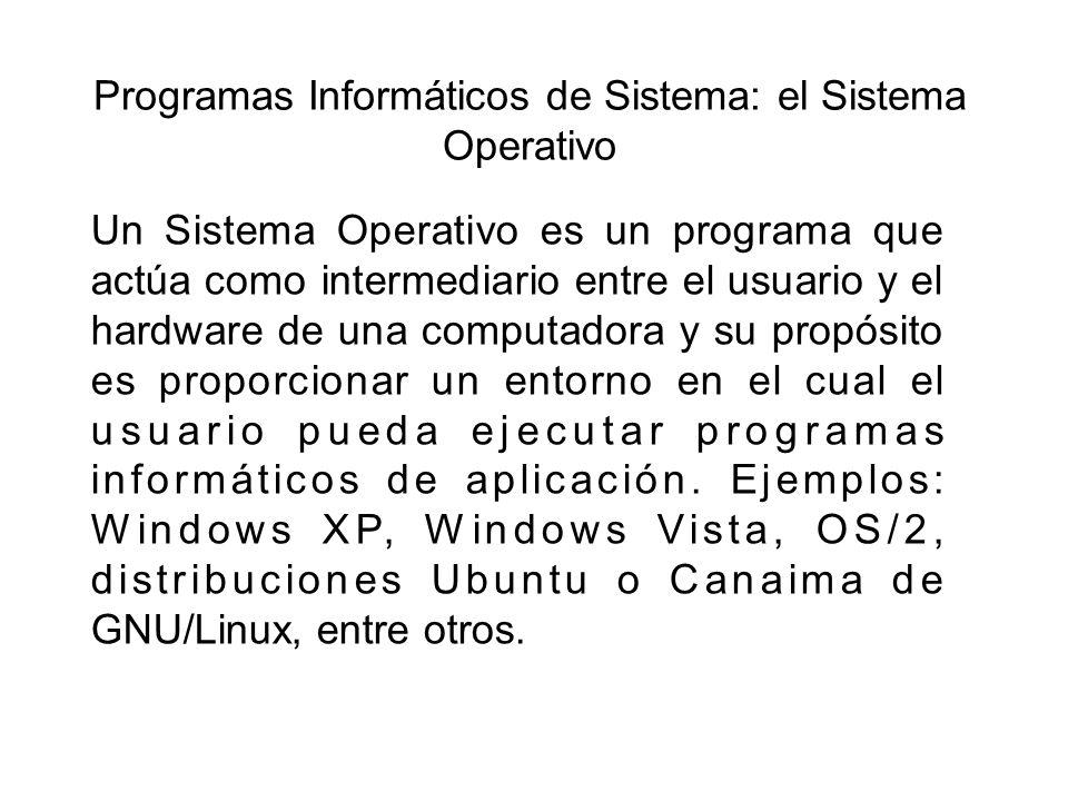 Programas Informáticos de Sistema: el Sistema Operativo