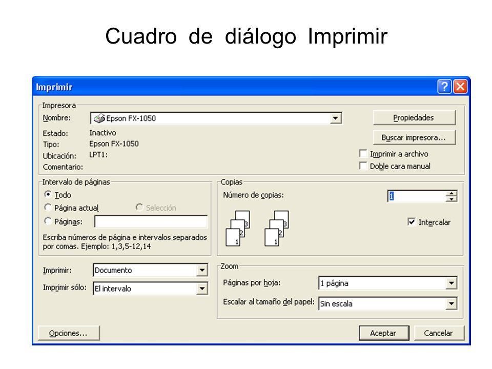 Cuadro de diálogo Imprimir