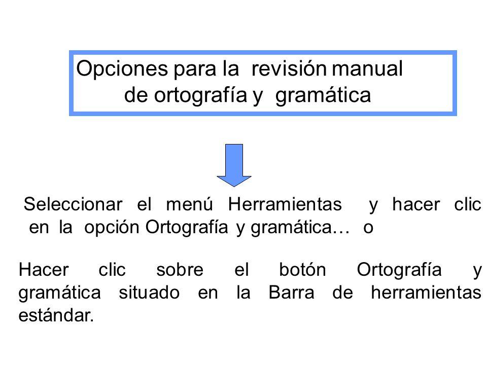 Opciones para la revisión manual de ortografía y gramática