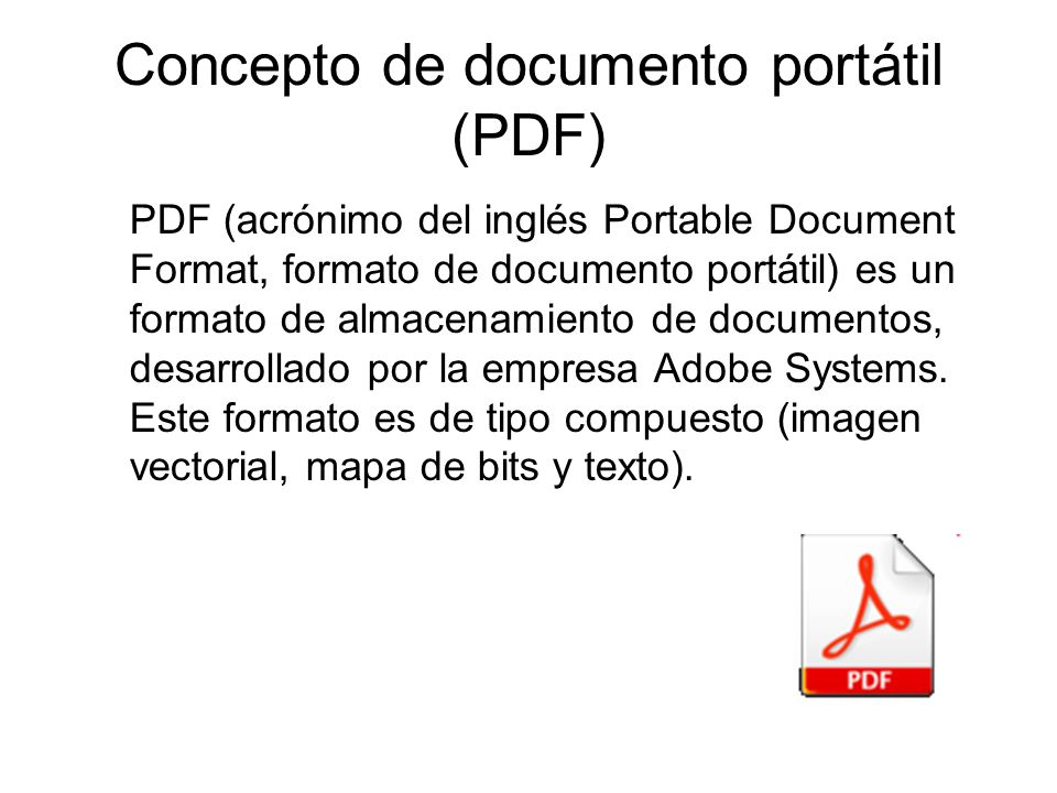 Concepto de documento portátil (PDF)