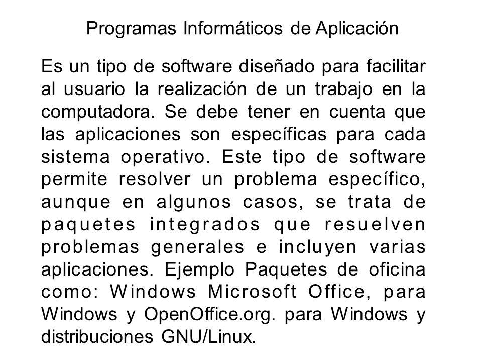 Programas Informáticos de Aplicación