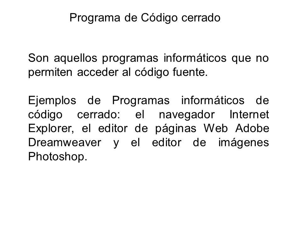 Programa de Código cerrado