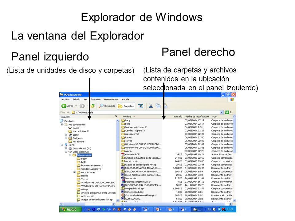 La ventana del Explorador Panel derecho Panel izquierdo