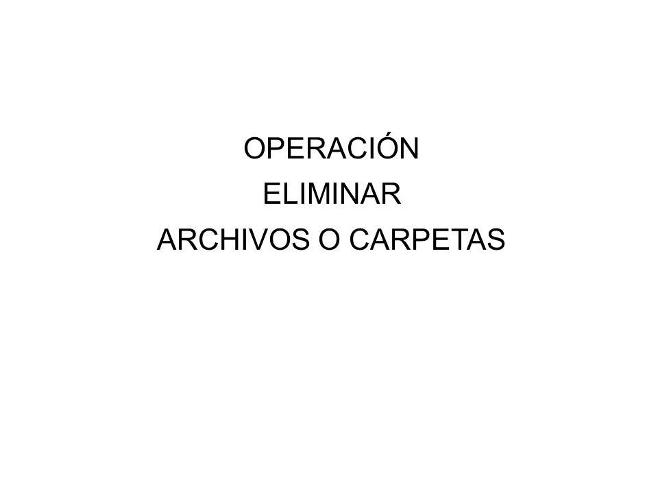 OPERACIÓN ELIMINAR ARCHIVOS O CARPETAS