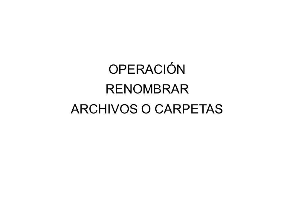 OPERACIÓN RENOMBRAR ARCHIVOS O CARPETAS