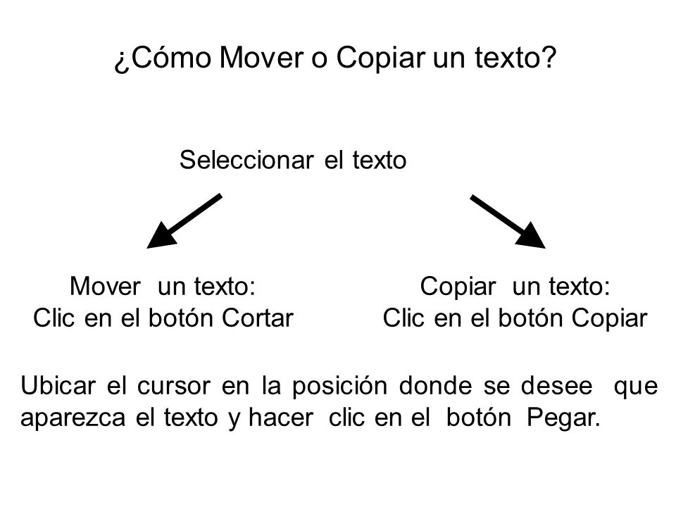 ¿Cómo Mover o Copiar un texto