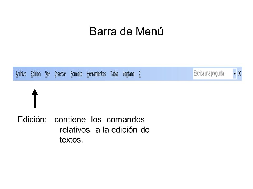 Barra de Menú Edición: contiene los comandos relativos a la edición de textos.