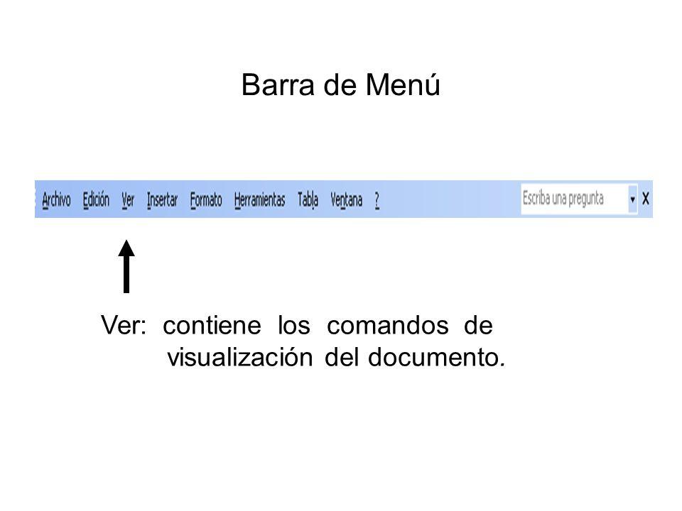 Barra de Menú Ver: contiene los comandos de visualización del documento.