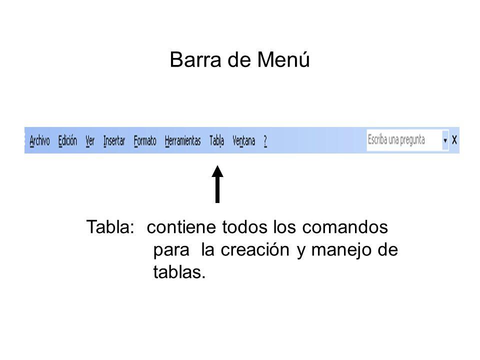 Barra de Menú Tabla: contiene todos los comandos para la creación y manejo de tablas.