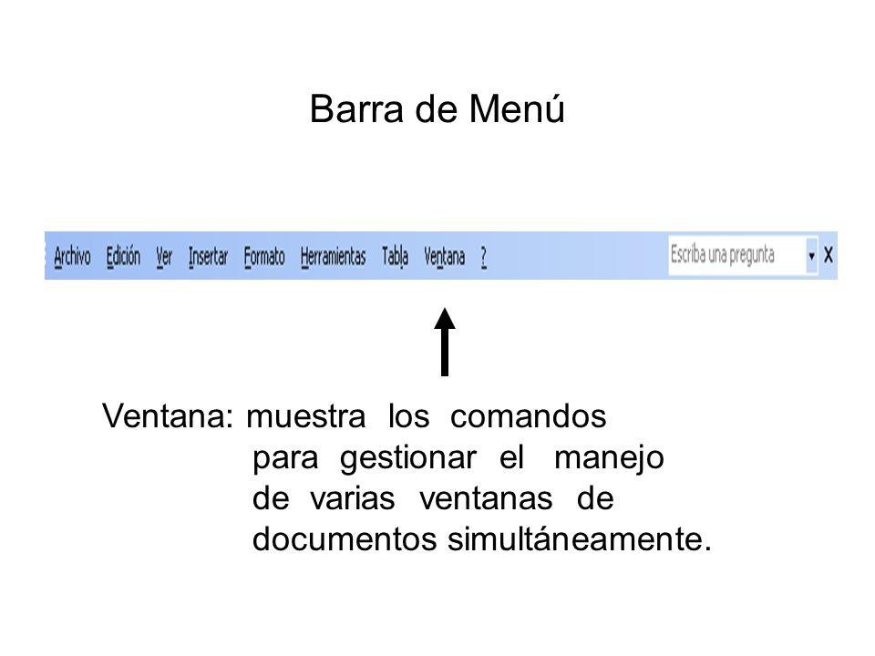 Barra de Menú Ventana: muestra los comandos para gestionar el manejo