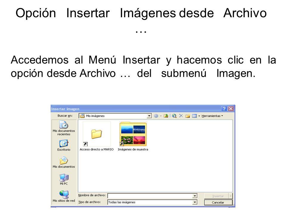Opción Insertar Imágenes desde Archivo …