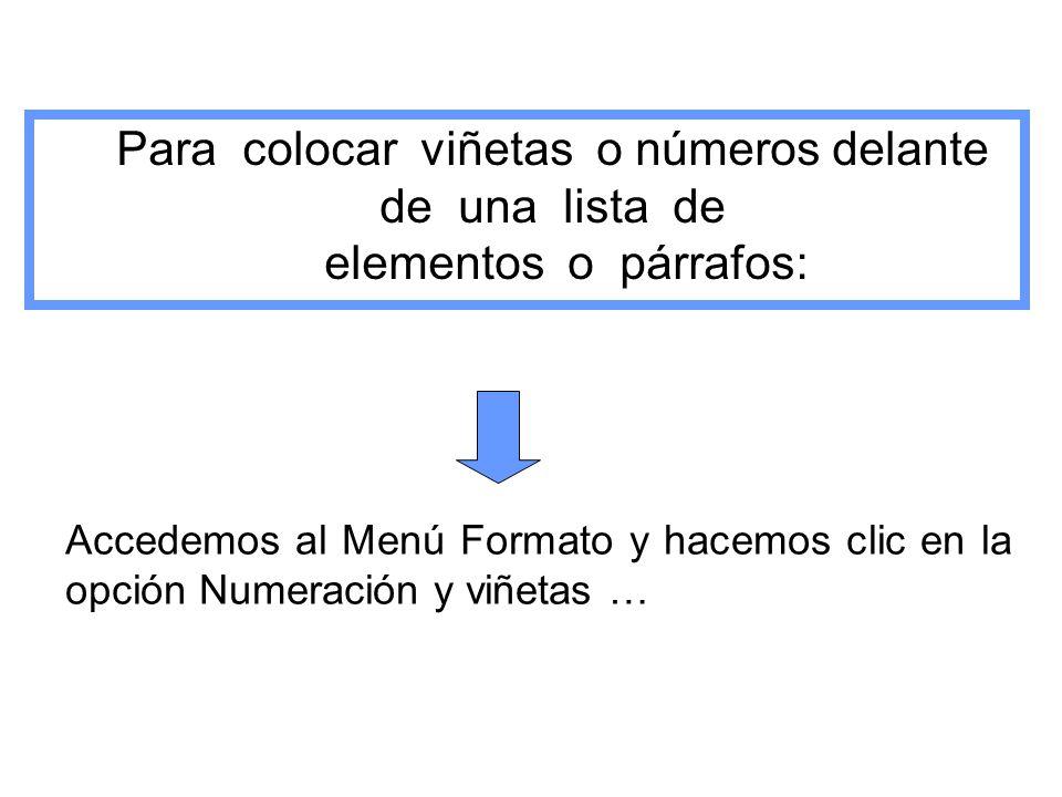Para colocar viñetas o números delante de una lista de elementos o párrafos: