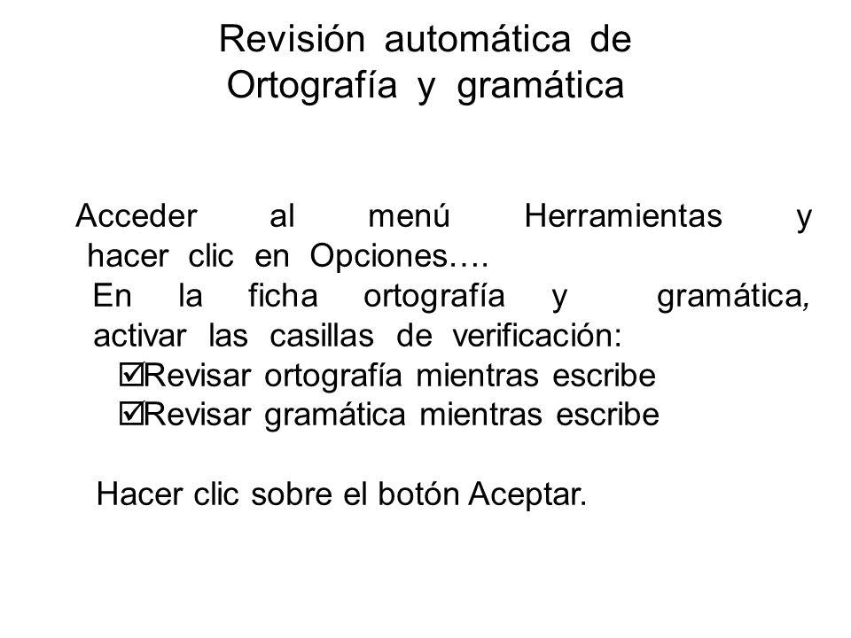Revisión automática de Ortografía y gramática