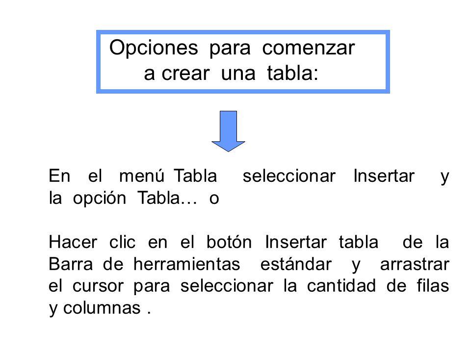 Opciones para comenzar a crear una tabla: