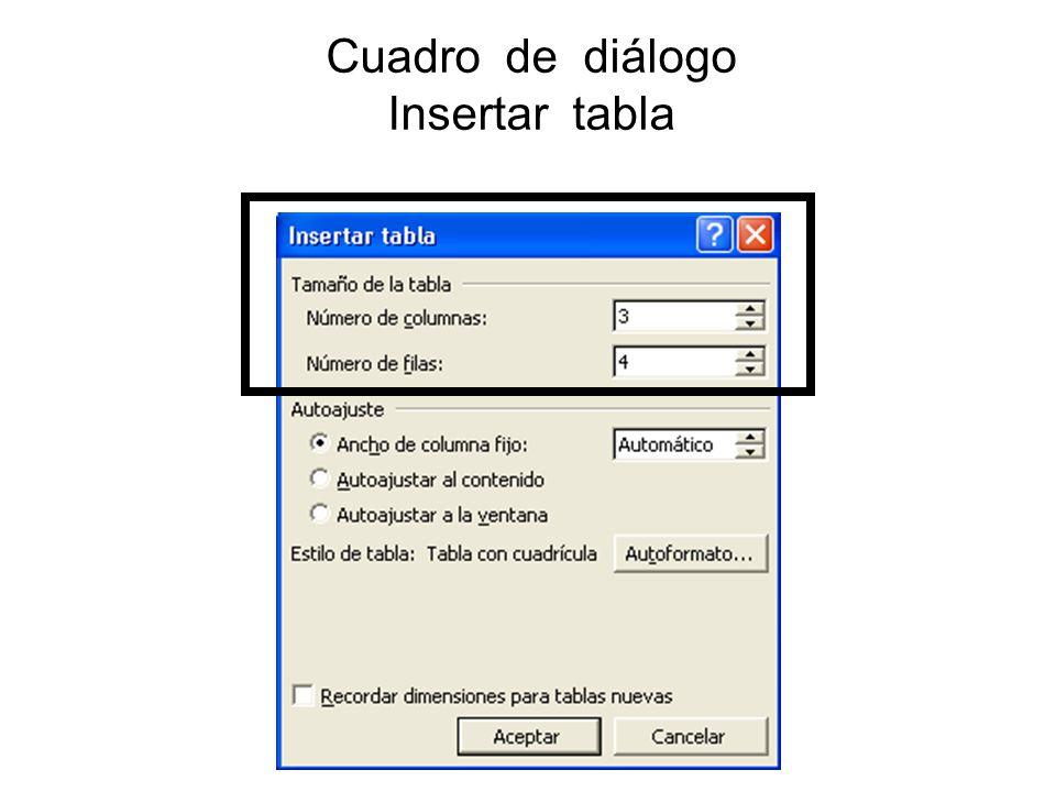 Cuadro de diálogo Insertar tabla