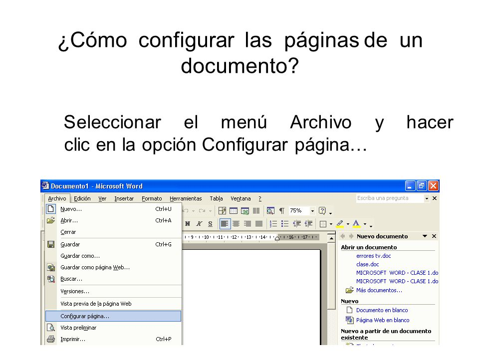 ¿Cómo configurar las páginas de un documento