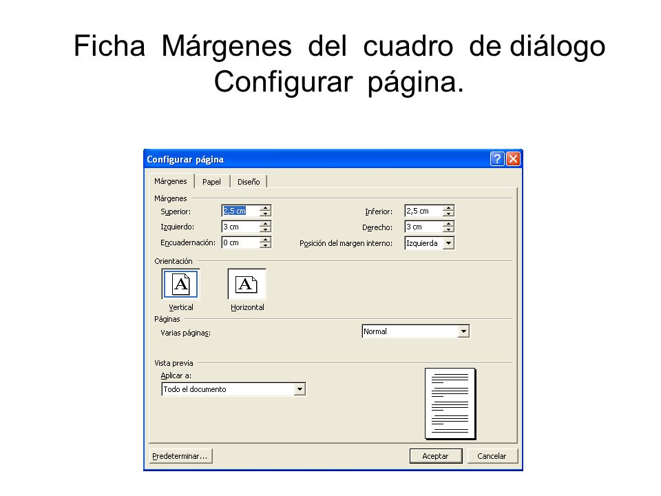 Ficha Márgenes del cuadro de diálogo Configurar página.