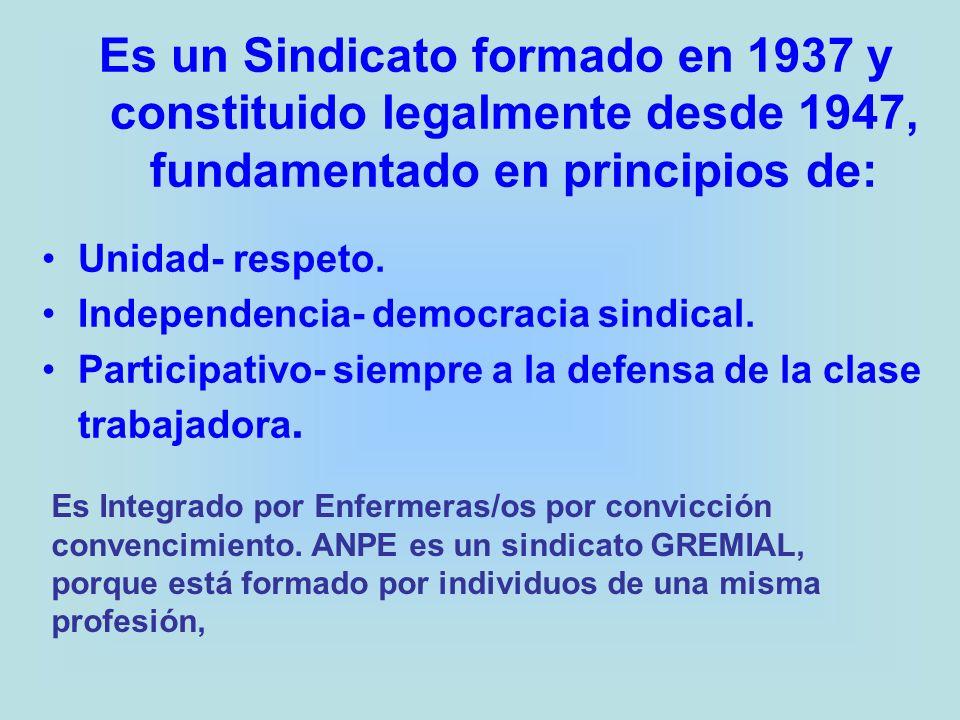 Es un Sindicato formado en 1937 y constituido legalmente desde 1947, fundamentado en principios de: