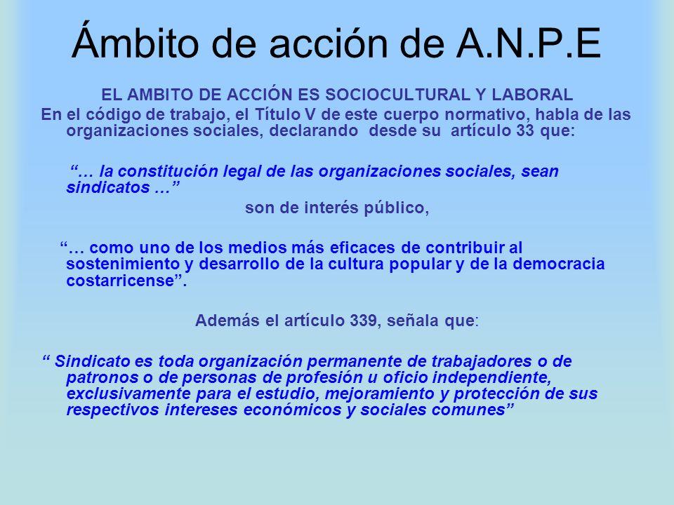 Ámbito de acción de A.N.P.E