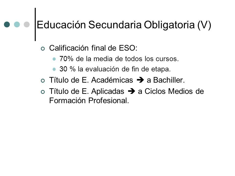 Educación Secundaria Obligatoria (V)
