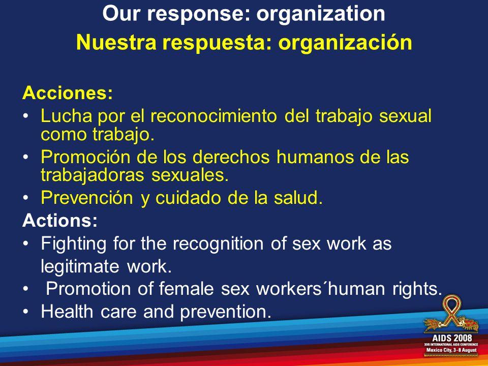 Our response: organization Nuestra respuesta: organización