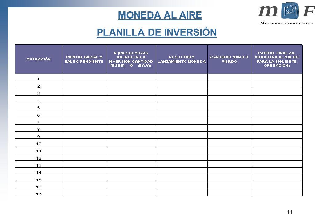 MONEDA AL AIRE PLANILLA DE INVERSIÓN
