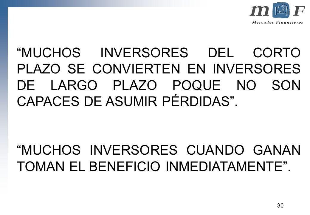 MUCHOS INVERSORES DEL CORTO PLAZO SE CONVIERTEN EN INVERSORES DE LARGO PLAZO POQUE NO SON CAPACES DE ASUMIR PÉRDIDAS .