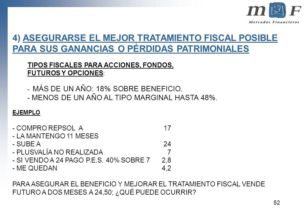 4) ASEGURARSE EL MEJOR TRATAMIENTO FISCAL POSIBLE