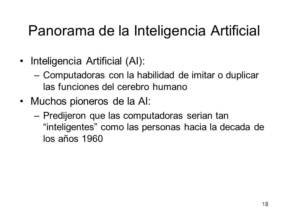 Panorama de la Inteligencia Artificial