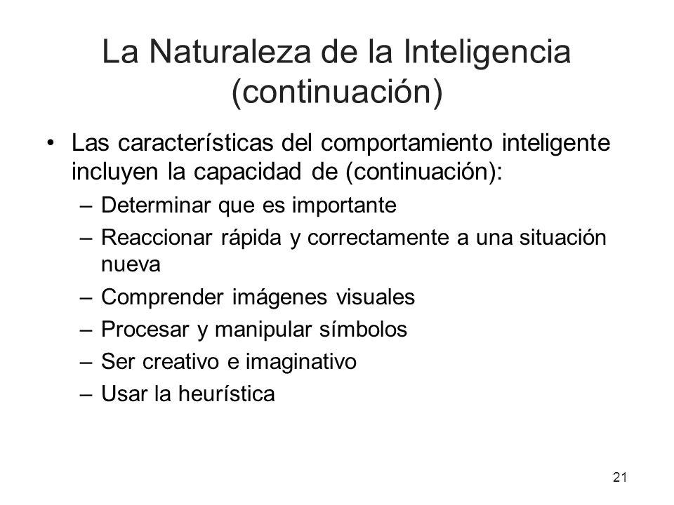 La Naturaleza de la Inteligencia (continuación)