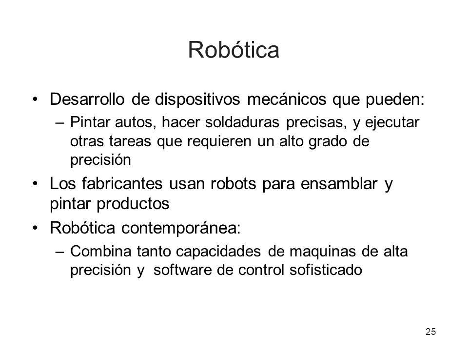 Robótica Desarrollo de dispositivos mecánicos que pueden: