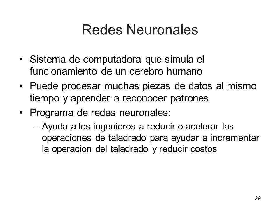 Redes Neuronales Sistema de computadora que simula el funcionamiento de un cerebro humano.