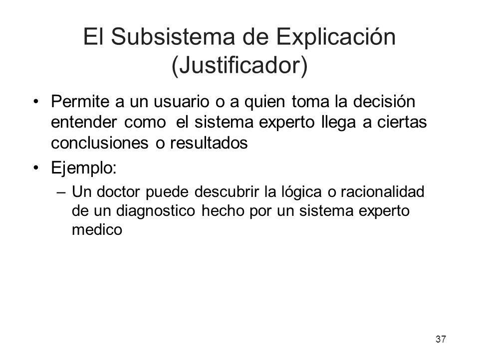 El Subsistema de Explicación (Justificador)