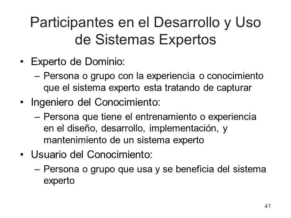 Participantes en el Desarrollo y Uso de Sistemas Expertos