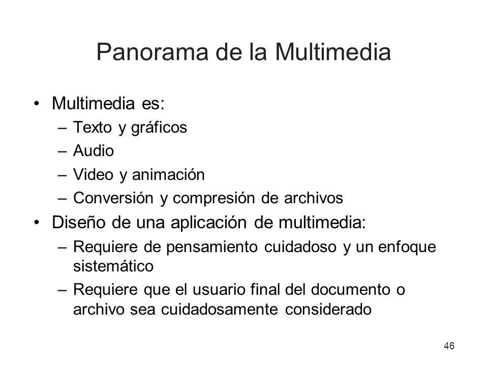 Panorama de la Multimedia