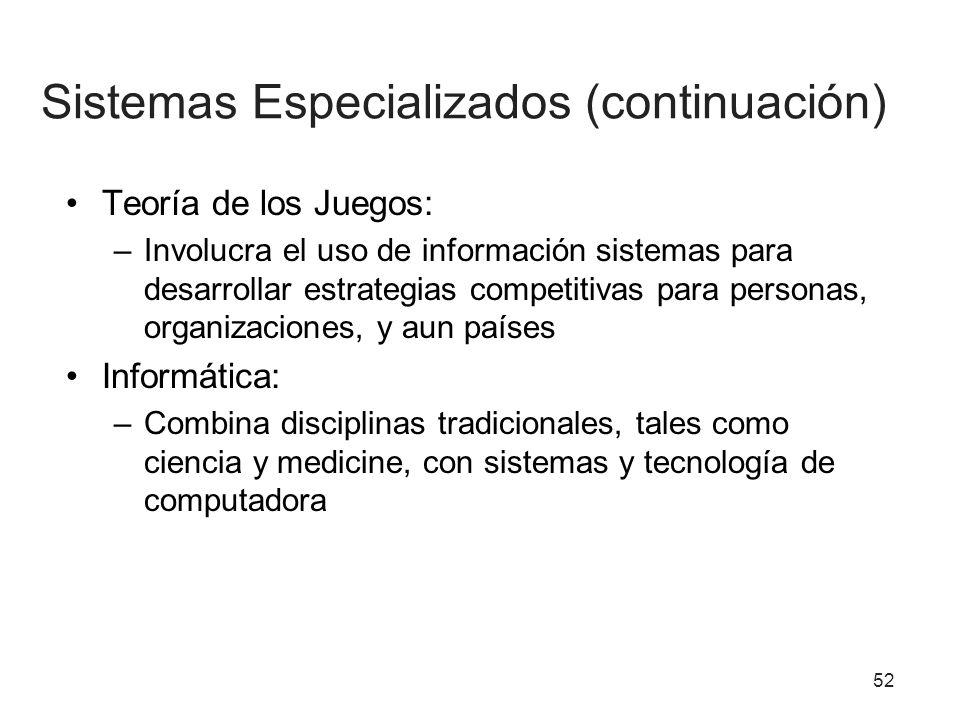 Sistemas Especializados (continuación)