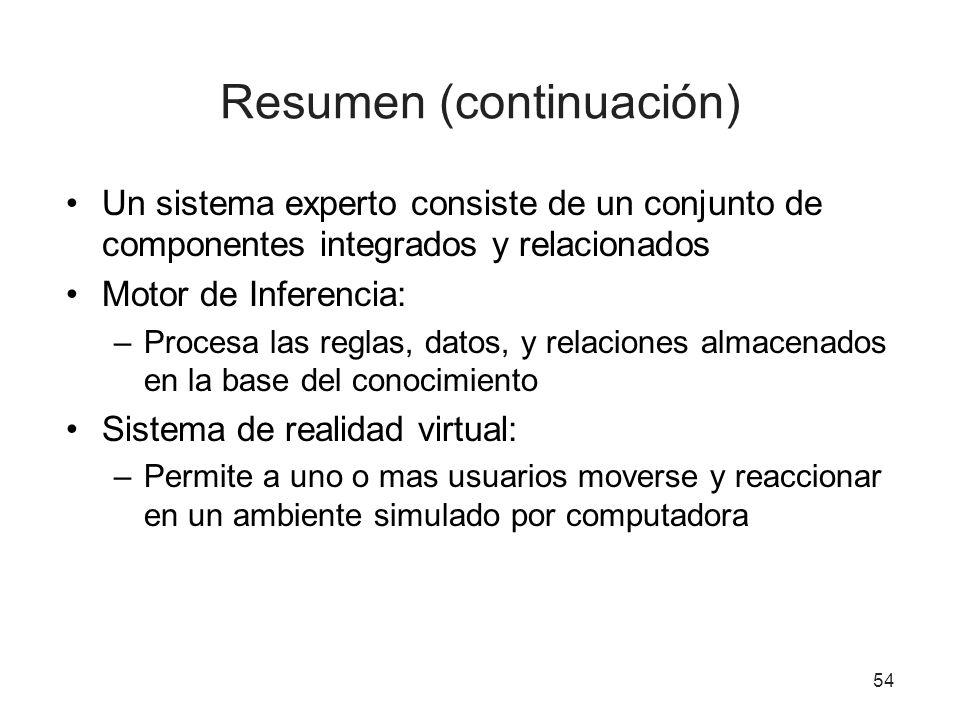 Resumen (continuación)