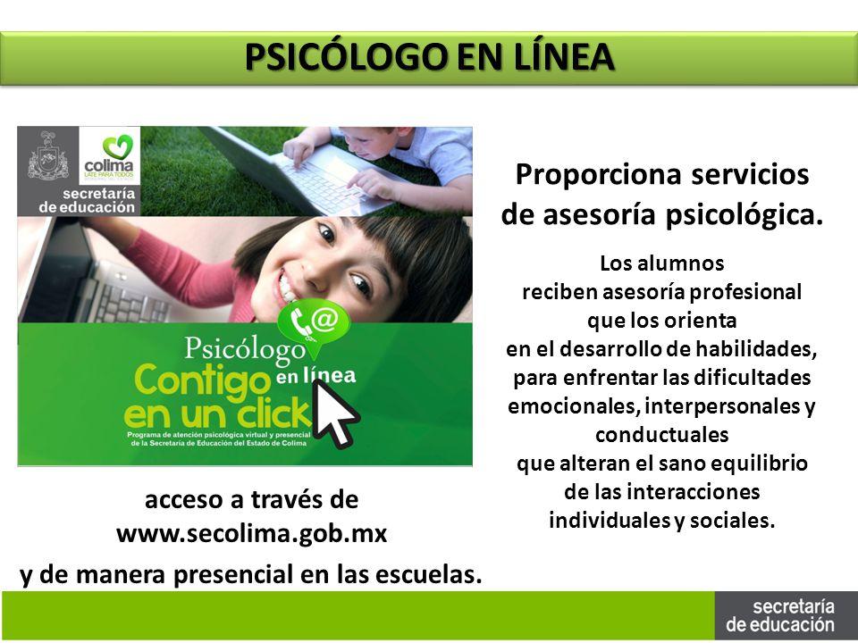 PSICÓLOGO EN LÍNEA Proporciona servicios de asesoría psicológica.