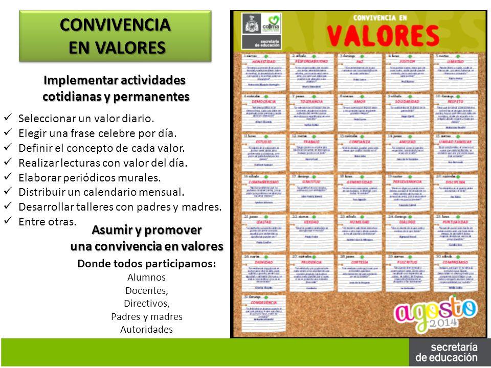 CONVIVENCIA EN VALORES