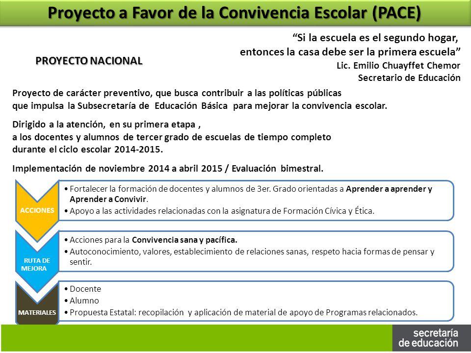 Proyecto a Favor de la Convivencia Escolar (PACE)