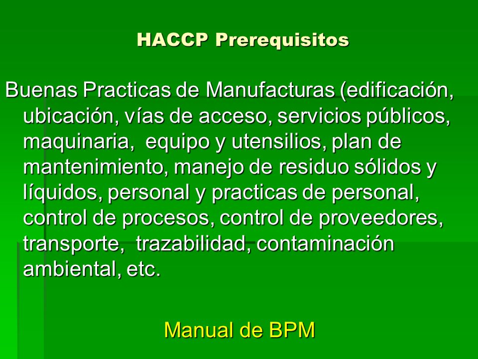 HACCP Prerequisitos