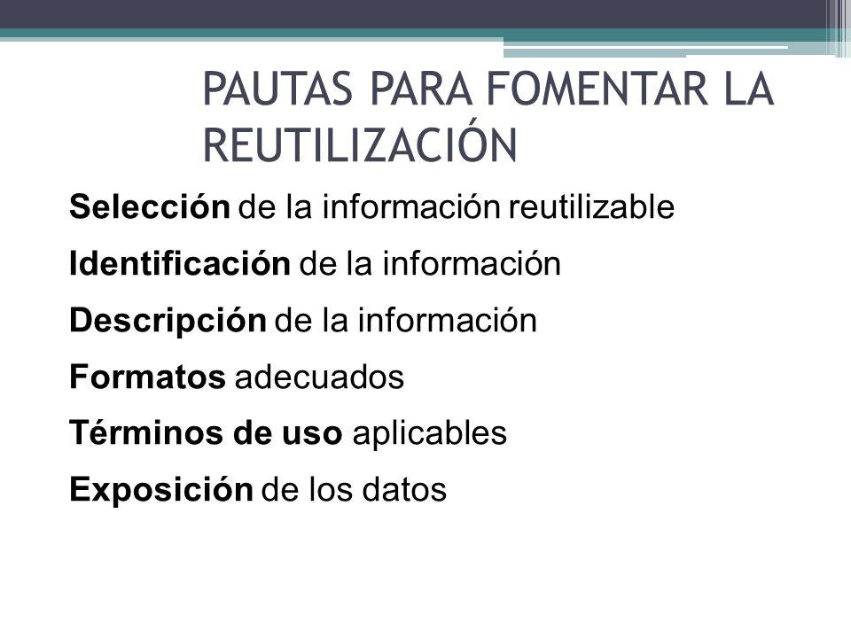 PAUTAS PARA FOMENTAR LA REUTILIZACIÓN