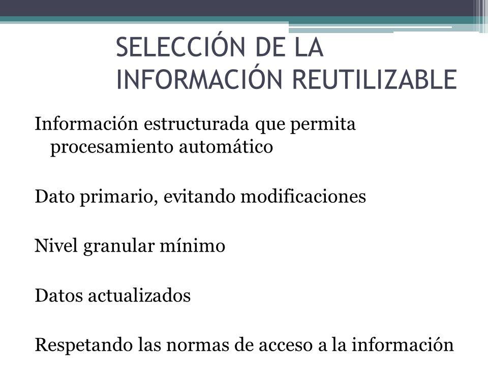 SELECCIÓN DE LA INFORMACIÓN REUTILIZABLE