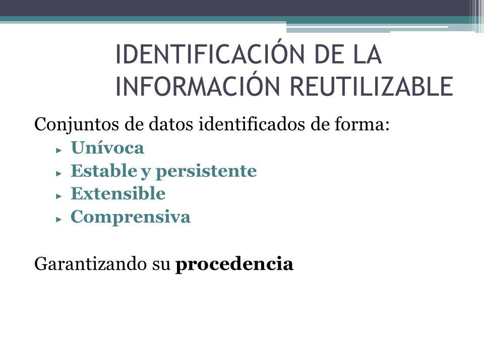 IDENTIFICACIÓN DE LA INFORMACIÓN REUTILIZABLE
