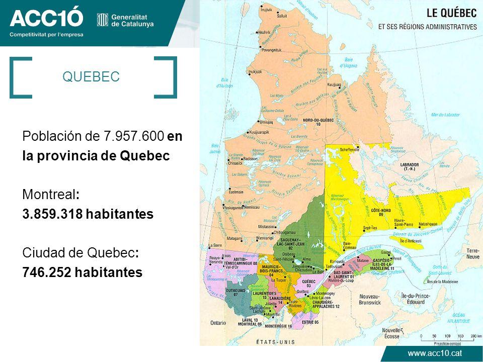 QUEBEC Población de 7.957.600 en la provincia de Quebec Montreal: