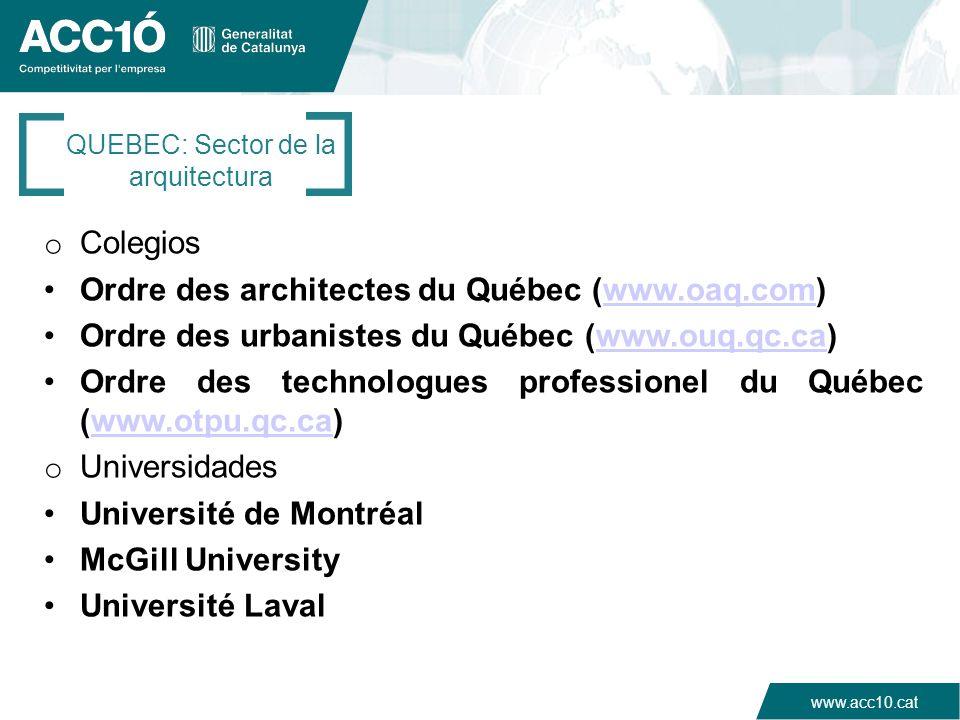 QUEBEC: Sector de la arquitectura
