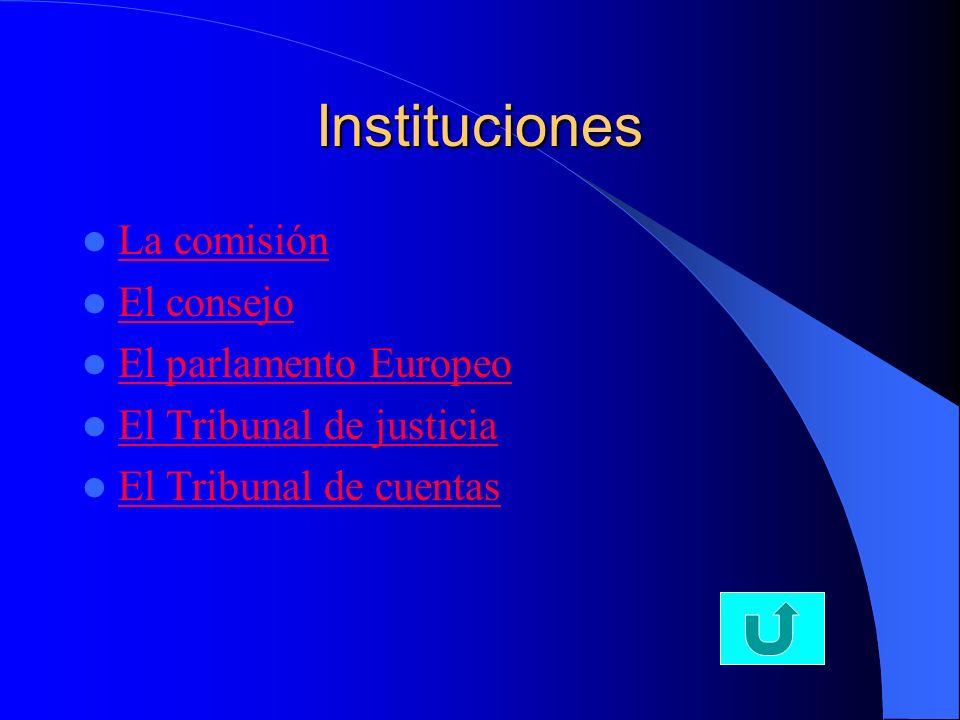 Instituciones La comisión El consejo El parlamento Europeo