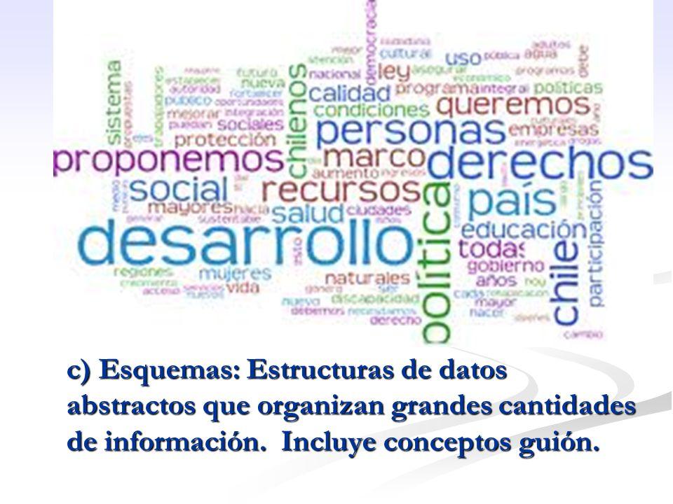 c) Esquemas: Estructuras de datos abstractos que organizan grandes cantidades de información.